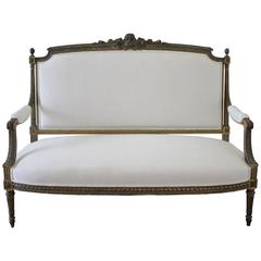 19th Century Louis XVI Giltwood Settee Upholstered in Belgian Linen