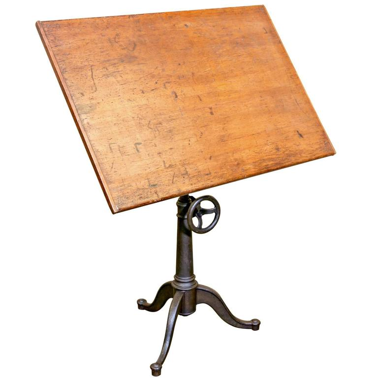 Vintage Cast Iron Articulating Tripod Base Drafting Table 1