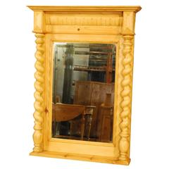 Antique Danish Pine Mirror with Small Shelf, circa 1880