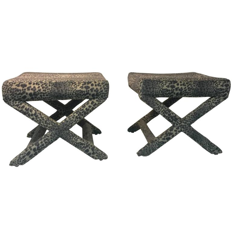 Lovely Pair Of Leopard Print X Base Stools Or Benches At