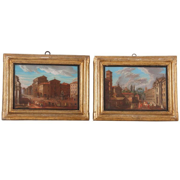 Pair of Italian 18th Century Roman Views For Sale