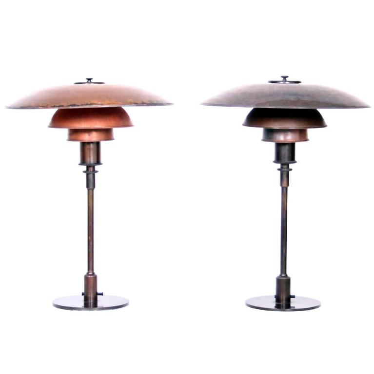 pair of poul henningsen 4 3 copper table lamps at 1stdibs. Black Bedroom Furniture Sets. Home Design Ideas