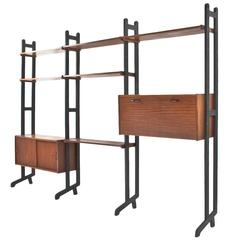 1950s Dutch Teak Plywood and Black Lacquered Modular Wall Unit by Simpla-Lux