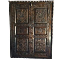 Antique Hall Bathroom Cupboard 18th Century Heavily Carved Two-Door