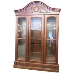 Large Walnut Display Cabinet
