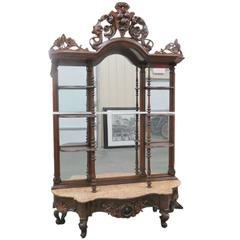 Grained Rosewood Mirrored Back Carved Hall Stand Mann. Belter