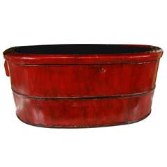 Asian, Iron-Banded, Red Lacquered Sectioned Wood Tub, Early 20th Century