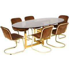 Dining Table Set with Brass Base and Six Cantilevered Chairs