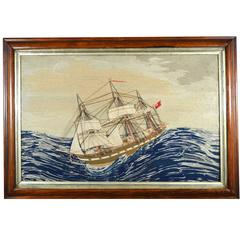 Folk Art English Sailor's Woolwork Picture of a Ship in Extreme Weather