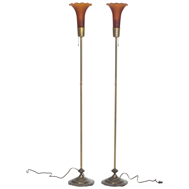 1940s Brass and Glass Floor Lamp For Sale