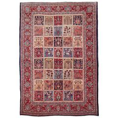 "Sarouk Vintage ""Garden of Paradise"" Persian Rug with Panel Design"