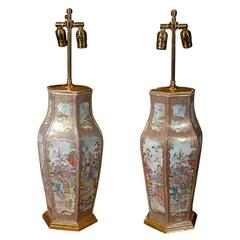 Large Pair of Exceptional Chinese Export Mandarin Palette Vases