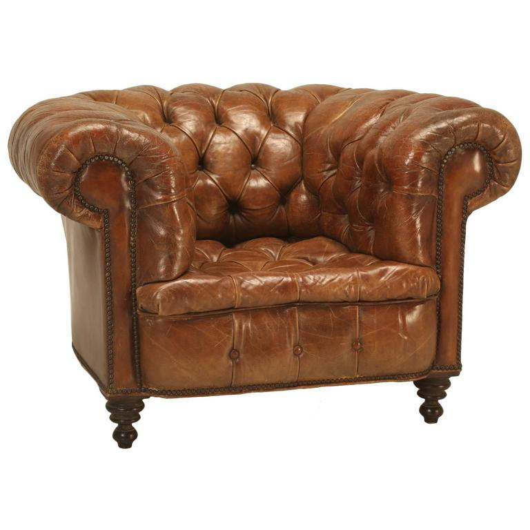 Antique Chesterfield Chair in Original Leather For Sale - Antique Chesterfield Chair In Original Leather For Sale At 1stdibs