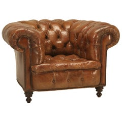 Antique Chesterfield Chair in Original Leather and Horsehair Stuffing circa 1900