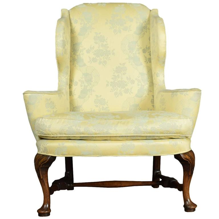 queen anne style wing armchair for sale at 1stdibs. Black Bedroom Furniture Sets. Home Design Ideas