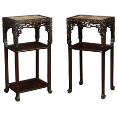 Pair of Chinese Rosewood and Marble Tables