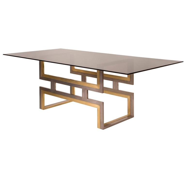 Romeo Rega, Exceptional Italian Chrome and Brass Dining / Center Table 1
