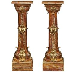French 19th Century Belle Époque Period Onyx and Ormolu-Mounted Pedestals