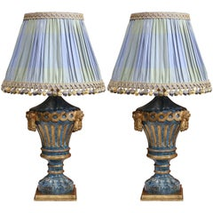 Pair of 19th Century Italian Painted Carved Lamp Bases with Custom Silk Shades