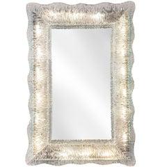 Venini, Rare Illuminated Textured and Colorless Murano Glass Framed Mirror