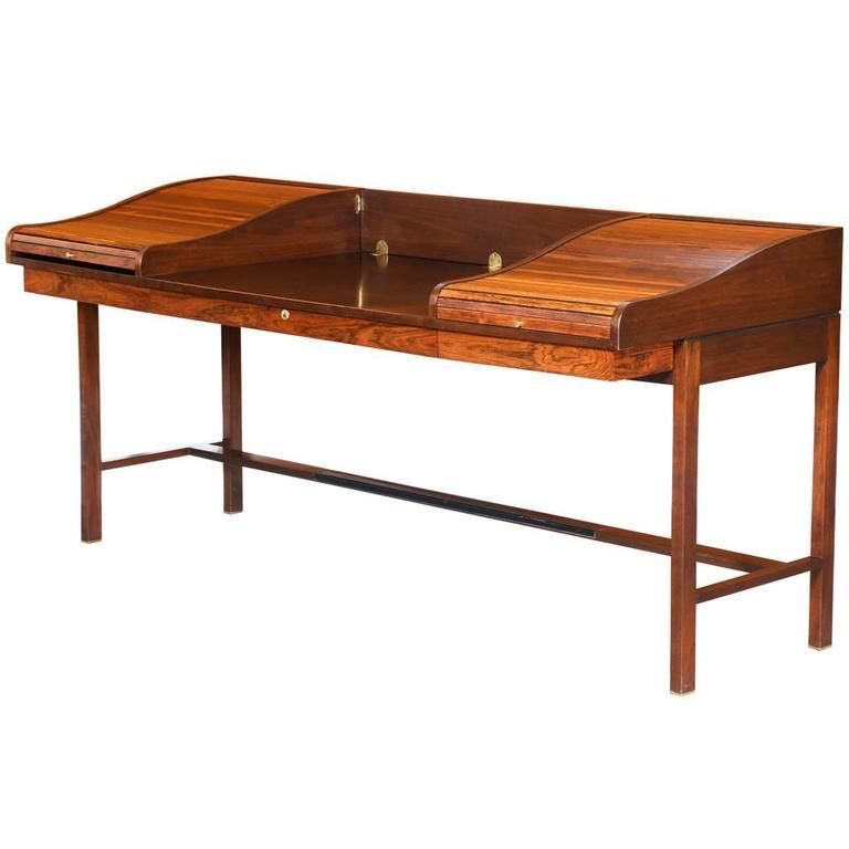 Edward J. Wormley Model #452 Tambour Door Rosewood Desk for Dunbar