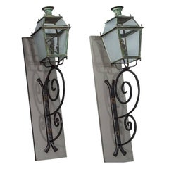 Pair of Victorian Style Iron Copper and Glass Parisian Street Lanterns