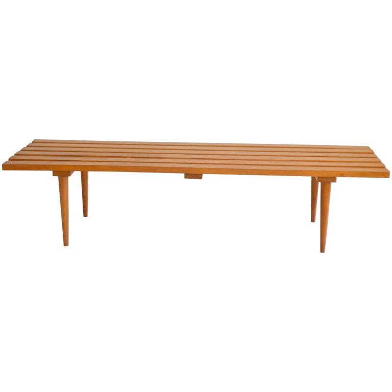 Midcentury Wood Slat Bench