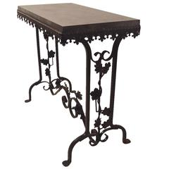 Art Deco Gothic Revival Iron Foliate Base Marble Top Table
