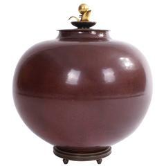 Large Kresten Bloch Stoneware Jar for Royal Copenhagen, 1950