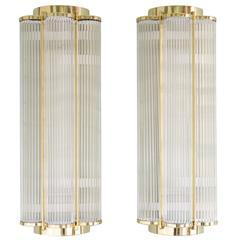 LASSCO Art Deco Style Brass Wall Lights