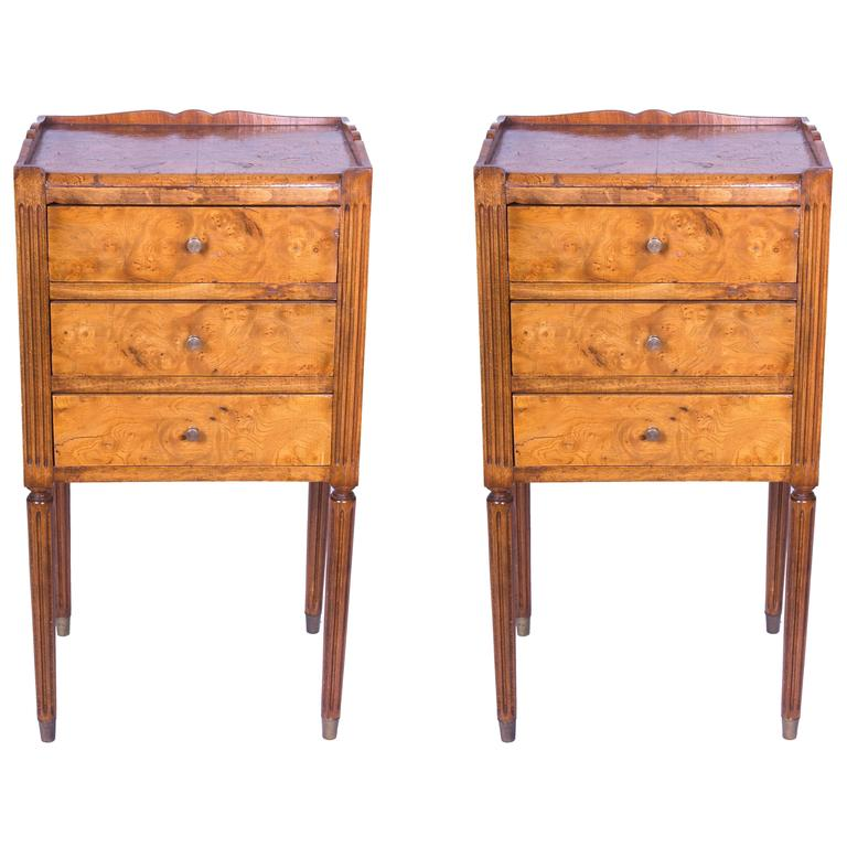 Pair of Burled Elm Continential Side Tables For Sale