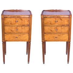 Pair of Burled Elm Continential Side Tables
