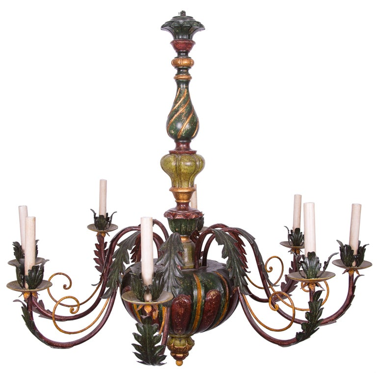 Italian Carved Polychrome Chandelier For Sale