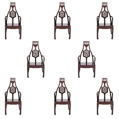 Vintage Set of Eight Mahogany Asian Inspired Armchairs