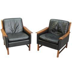 Torbjørn Afdal Black Leather Club Chairs, Pair