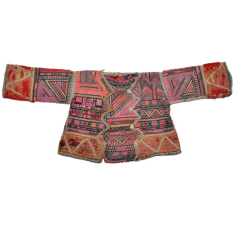 Vintage ethnic embroidered baby jacket from nepal pink
