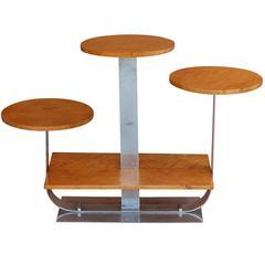 Art Deco Bird's-Eye Maple Triple Pedestal Stand Attributed to Donald Deskey