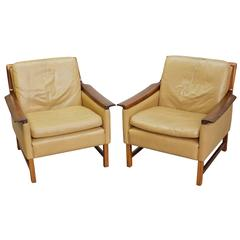 Tan Leather Club Chairs by Torbjørn Afdal, Pair