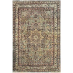 Late 19th Century Hand Knotted Wool  Antique Persian Lavar Kerman Rug