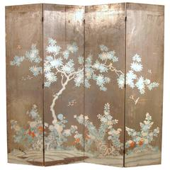 Chinoiserie Hand Painted Silver Four Panel Screen at 1stdibs