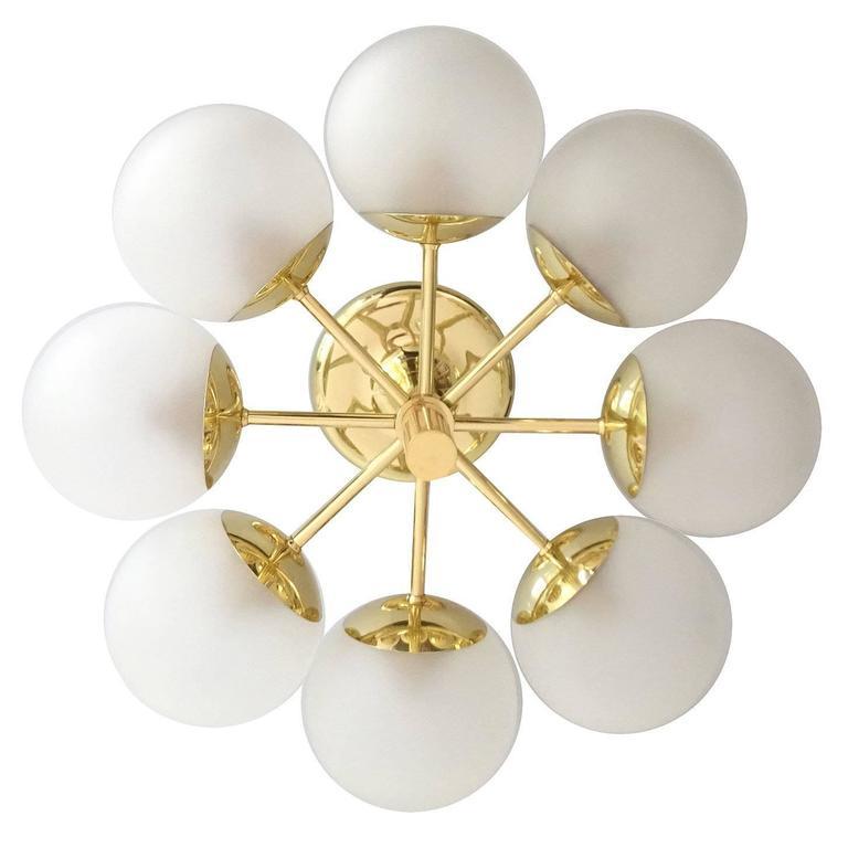 Kaiser Brass & Glass Globes Chandelier, 1960s Stilnovo Style   1