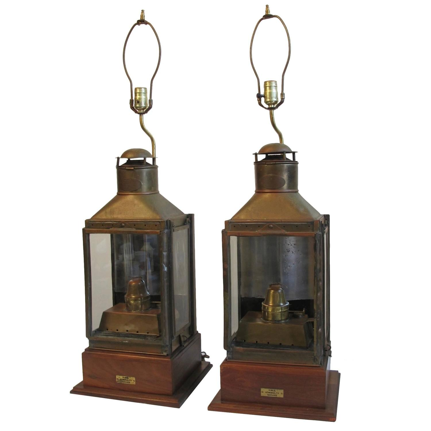 nautical brass ship lanterns lamps for sale at 1stdibs. Black Bedroom Furniture Sets. Home Design Ideas