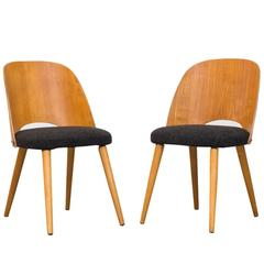 Pair of Thonet Barrel Back Beech Dining Chairs