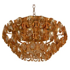 Midcentury Lobmeyr Flush Mount Brass and Crystal Chandelier