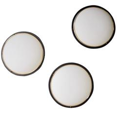 Stilnovo Style Brass and Glass Sconces / Flush Mounts