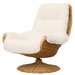 Gerard Van Den Berg Rattan Lounge Chair with New Upholstered Cushion