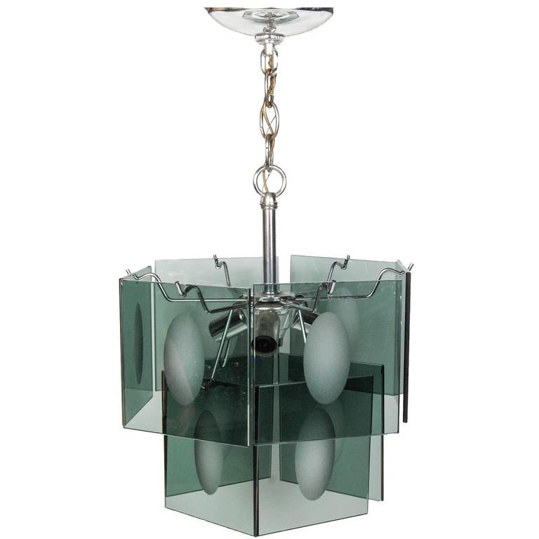Italian Smoked Glass Two-Tier Chandelier, 1960s