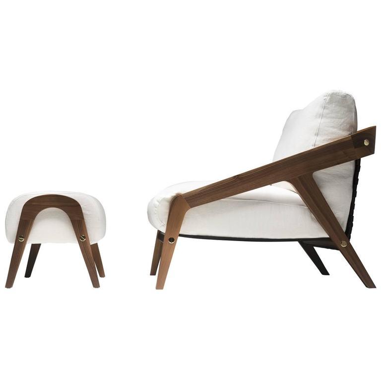 Frisé Set of White Armchair and Ottoman