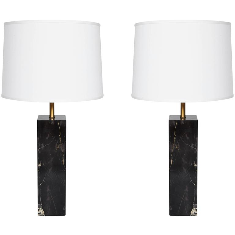 Pair of Marble Square Column Table Lamps in the Manner of T.H. Robsjohn-Gibbings 1