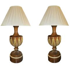 Pair of Faux Burl Walnut and Parcel-Gilt Neoclassical Style Lamps